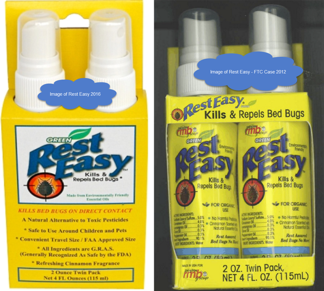 Comparison of 2016 bug spray with 2012 product from FTC Complaint
